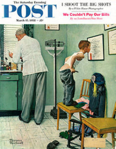 Norman Rockwell picture of boy about to get a shot, immunization schedule, immunizations, vaccine schedule, vaccines, US immunization schedule, US vaccine schedule, vaccines for kids, medical transportation, ambulance, airplane ambulance, air ambulance, medical flights